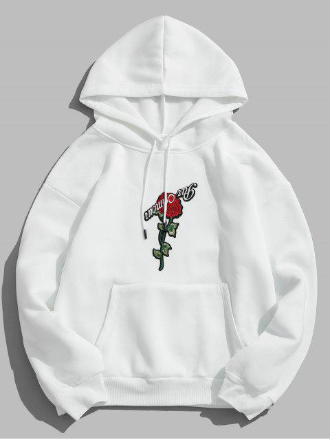 outfit ZAFUL Pullover Rose Embroidery Hoodie - WHITE M Mobile