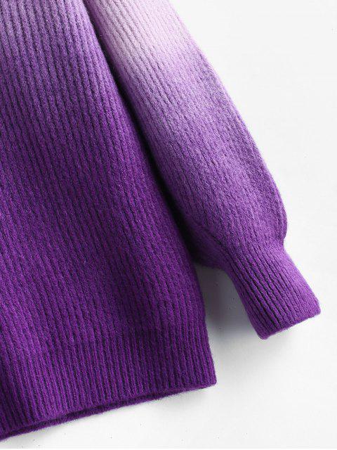 shops Plus Size Drop Shoulder Ombre Sweater - PURPLE ONE SIZE Mobile