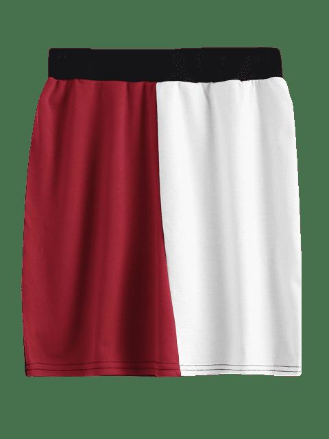 online High Waisted Color Block Mini Skirt - MULTI M Mobile