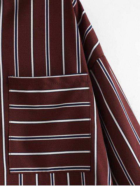fashion Slit Half Buttoned Striped Top - RED WINE L Mobile