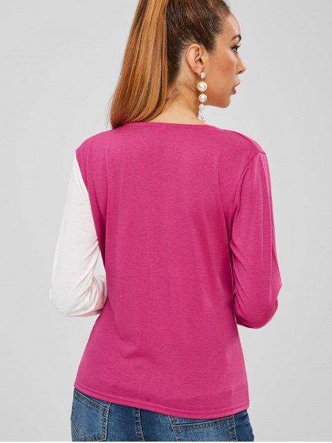 T-shirt Bicolore Superposé à Col V - Multi M Mobile