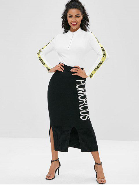 trendy Half Zip Letter Patched Tee - WHITE M Mobile