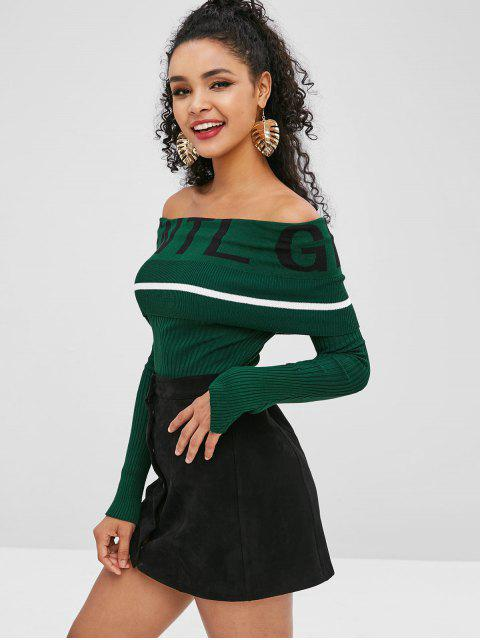 womens Off Shoulder Letter Graphic Ribbed Knitwear - DEEP GREEN ONE SIZE Mobile