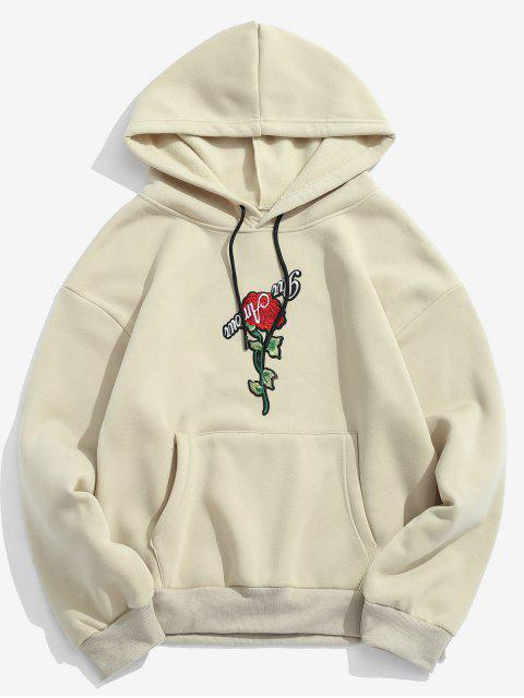 outfit ZAFUL Pullover Rose Embroidery Hoodie - LIGHT KHAKI 2XL Mobile