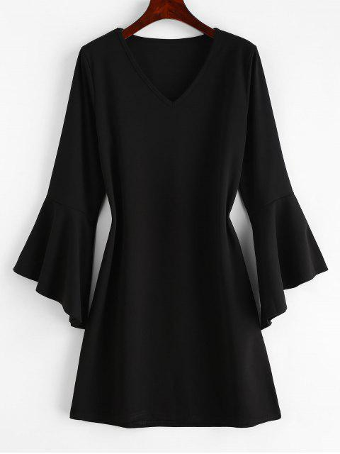 women's Casual Flare Sleeve Mini Dress - BLACK S Mobile