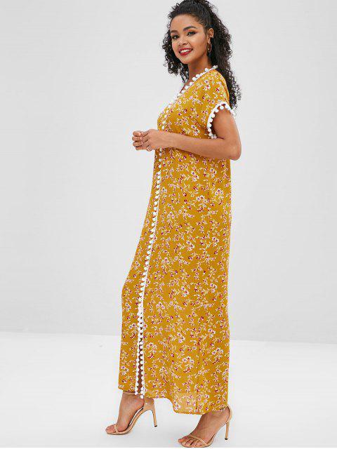 Robe Poncho Fendue Fleur à Pompon - Jaune L Mobile