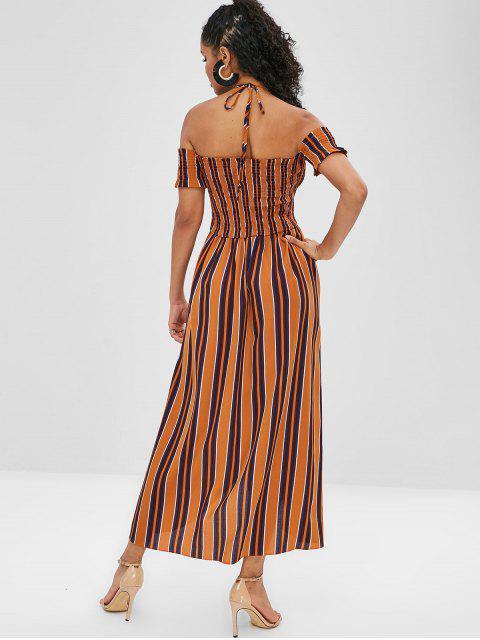 trendy Striped Halter Smocked Tulip Dress - YELLOW L Mobile