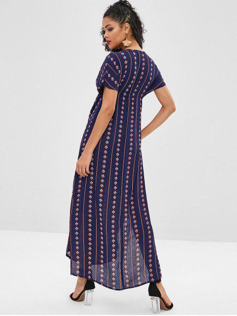 fashion Geometric Plunging Slit Poncho Dress - MIDNIGHT BLUE L Mobile