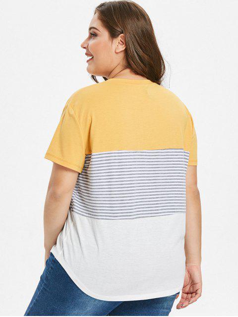 T-shirt Rayé en Blocs de Couleurs de Grande Taille - Jaune 3X Mobile