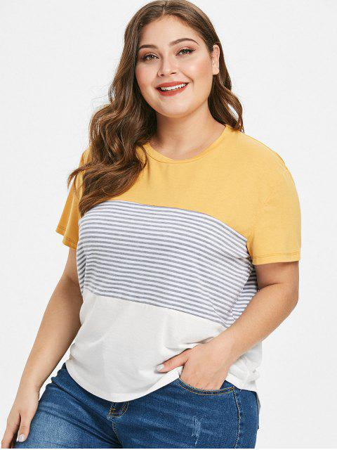 lady Plus Size Striped Color Block Tee - YELLOW 2X Mobile