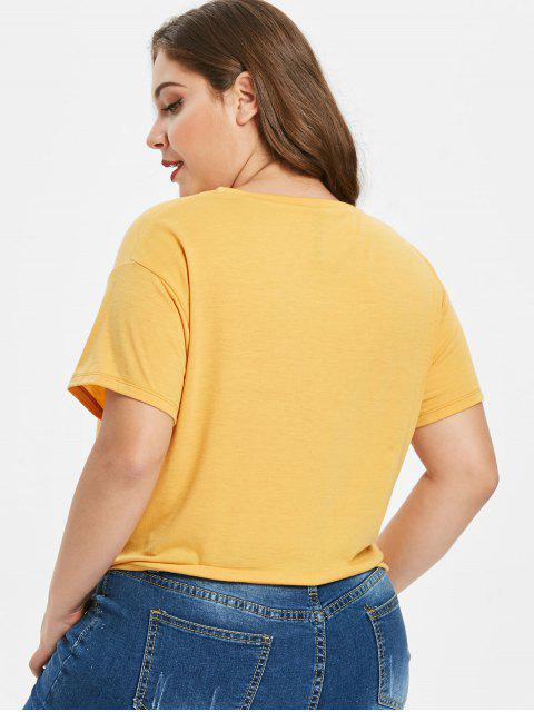 best Plus Size Knot Sequined Lip Tee - YELLOW 2X Mobile