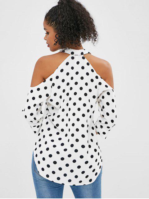 fancy Polka Dot Cold Shoulder Blouse - WHITE L Mobile