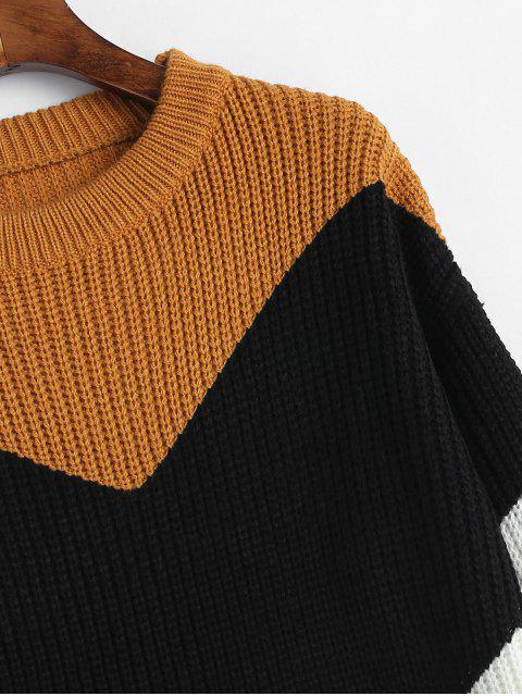 fancy Color Block Zig Zag Jumper Sweater - MULTI-A ONE SIZE Mobile