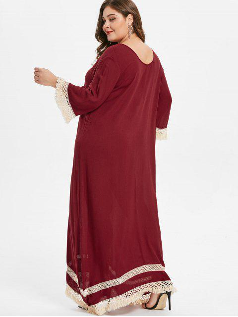 unique Floor Length Plus Size Fringed Trim Dress - RED WINE 1X Mobile