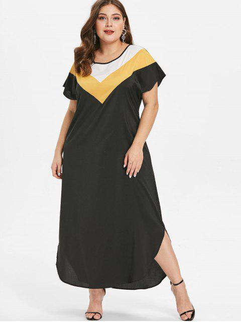 hot Plus Size Ankle Length Color Block Dress - BLACK 3X Mobile