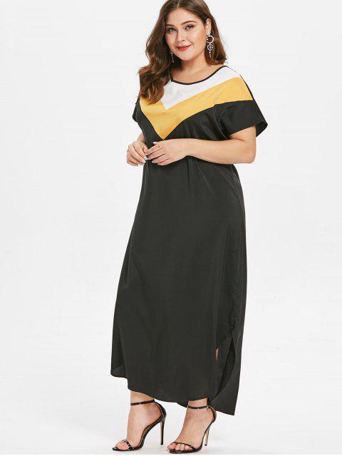ladies Plus Size Ankle Length Color Block Dress - BLACK 1X Mobile