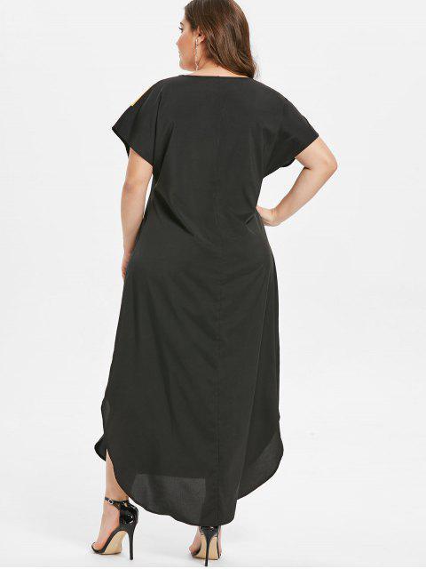 new Plus Size Ankle Length Color Block Dress - BLACK 2X Mobile