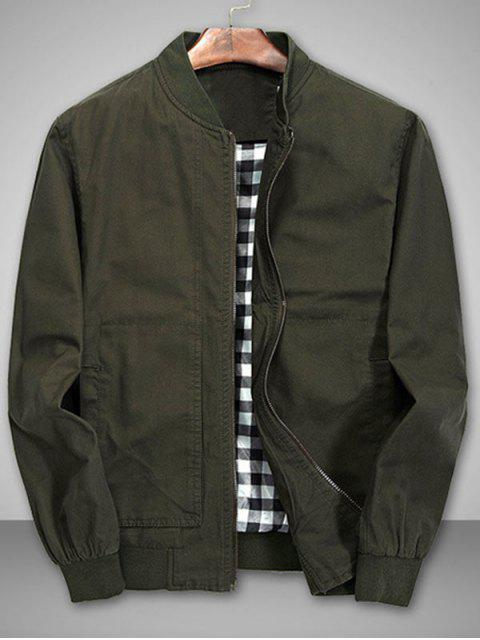 buy Solid Stitch Bomber Jacket - ARMY GREEN XL Mobile