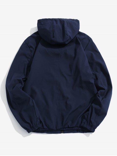 Veste à Capuche Applique Zippée - Cadetblue M Mobile