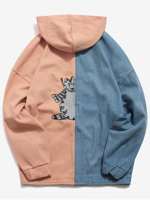 best Drop Shoulder Color Block Hoodie Jacket - PINK S Mobile