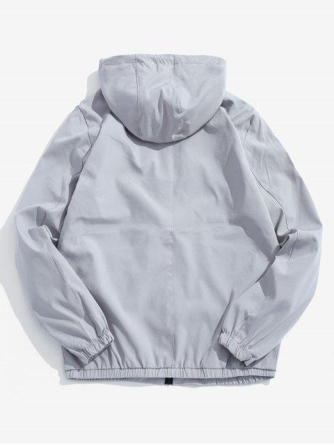 Veste à Capuche Applique Zippée - Gris S Mobile