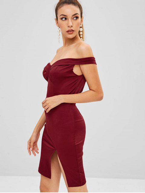 online Foldover Bodycon Mini Party Dress - RED WINE L Mobile
