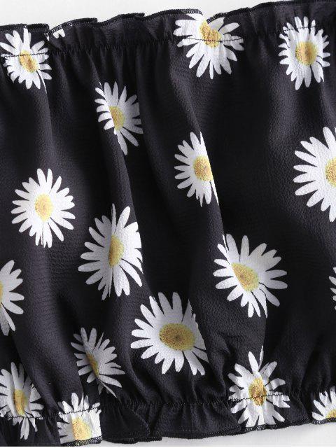 women ZAFUL Daisy Print Off The Shoulder Crop Top - BLACK L Mobile