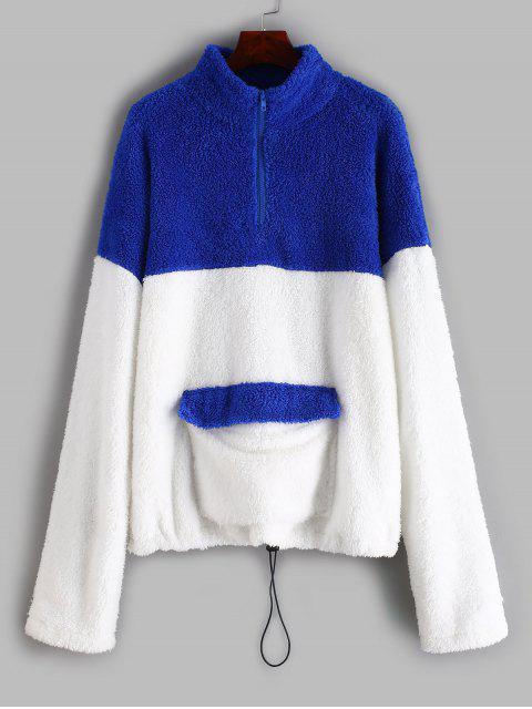 unique ZAFUL Half Zip Two Tone Teddy Sweatshirt - WHITE L Mobile