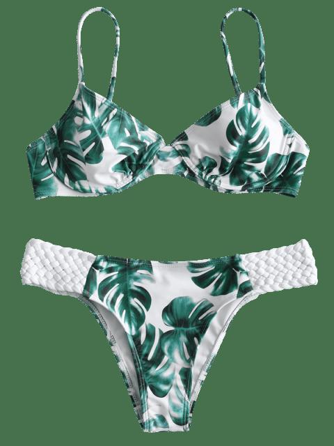 women ZAFUL Palm Leaf Macrame Underwire Bikini Set - WHITE M Mobile
