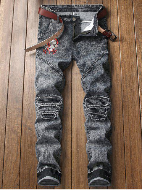 lady Skull Embroidery Knee Pleated Faded Jeans - DARK SLATE GREY 42 Mobile