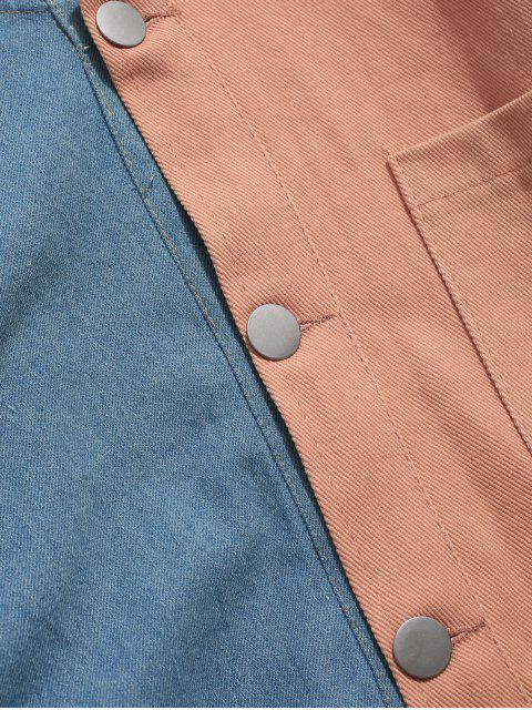Veste à Capuche en Blocs de Couleurs à Goutte Epaule - Rose  S Mobile