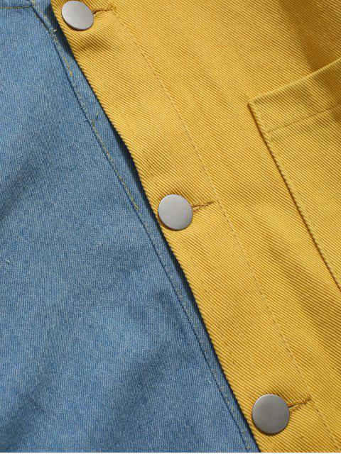 Veste à Capuche en Blocs de Couleurs à Goutte Epaule - Jaune XL Mobile
