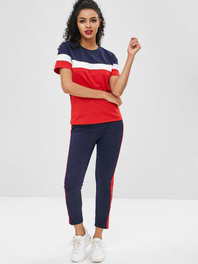 Short Sleeves Colorblock Tee with Striped Track Pants, Black