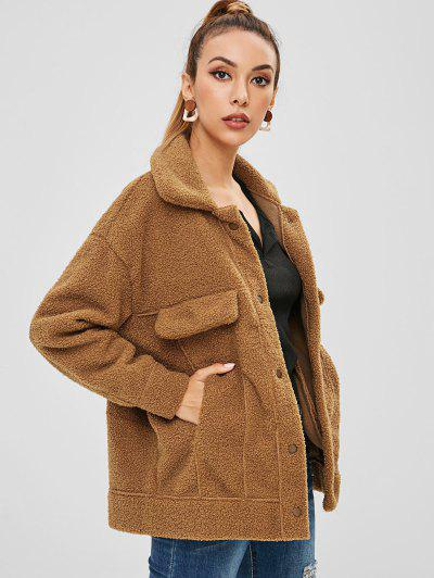 c13eaee0b02 Pockets Faux Fur Teddy Coat - Coffee S