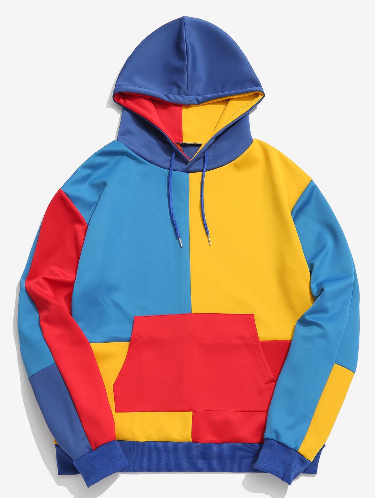 ZAFUL Color Block Splicing Pocket Hoodie, Multi