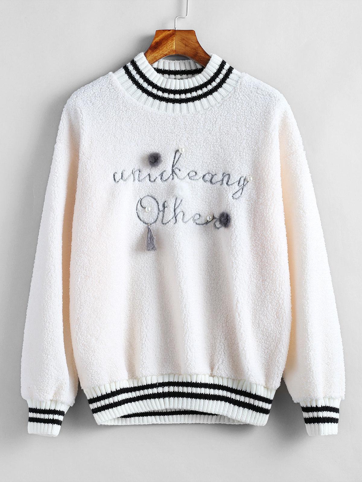 Graphic Embellished Pullover Fleece Sweatshirt thumbnail