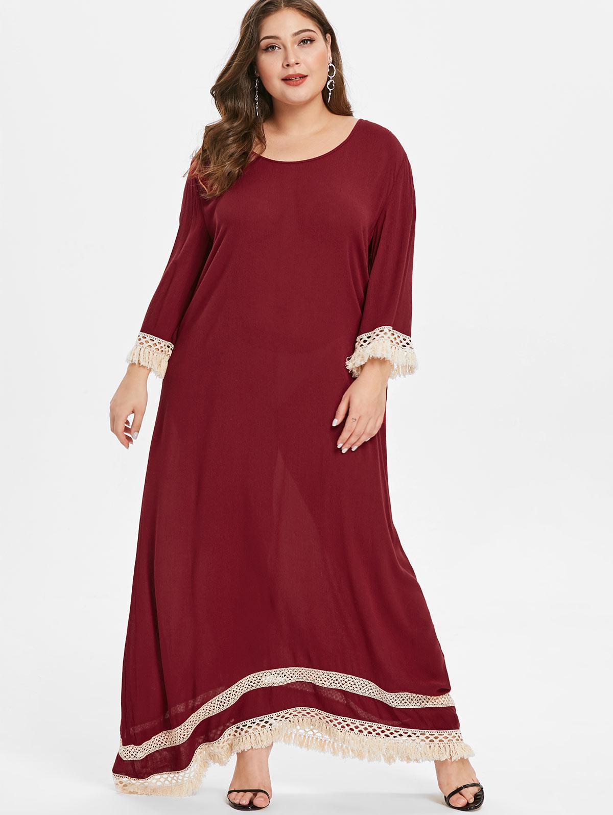 Floor Length Plus Size Fringed Trim Dress