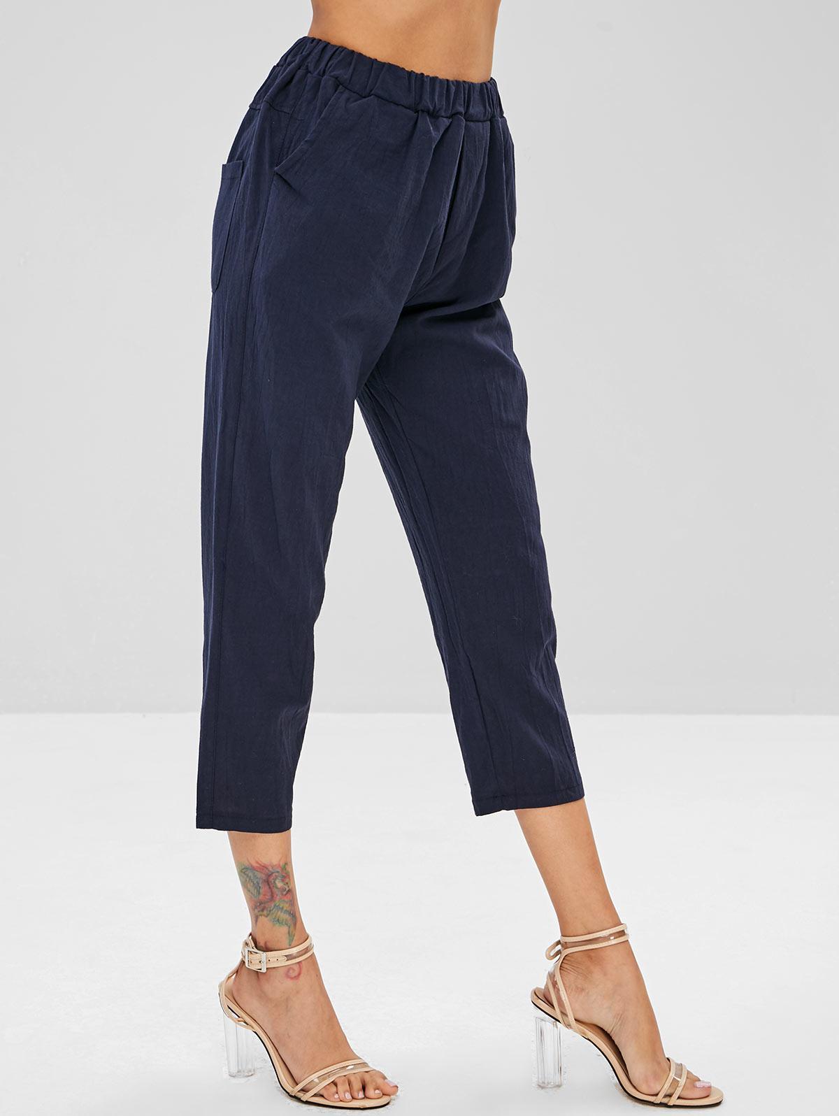 Plain Pockets Straight Pants