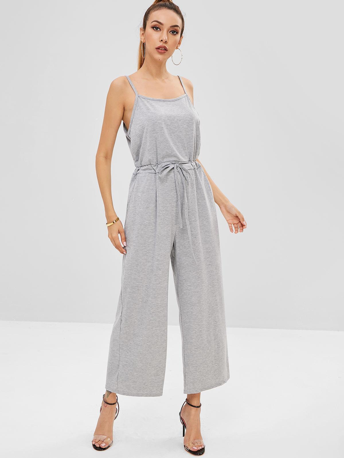 Waist Drawstring Wide Leg Jumpsuit, Light gray
