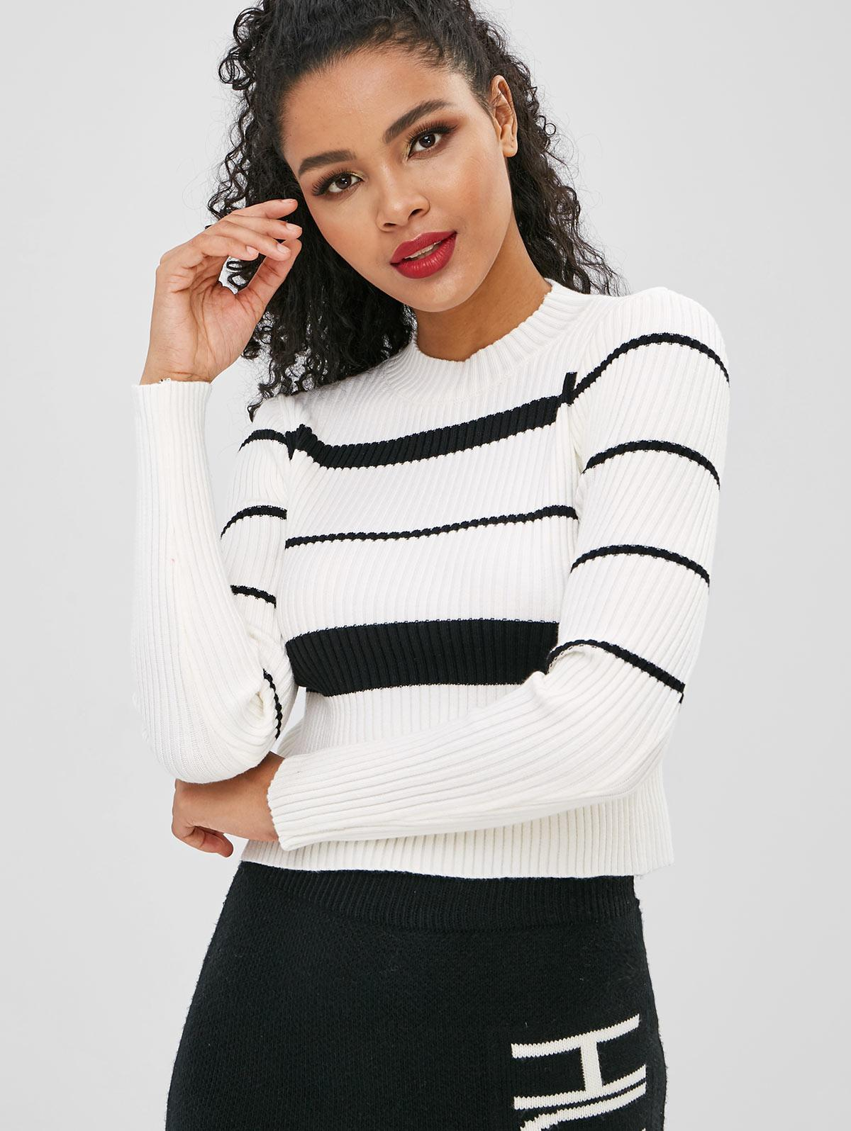 Striped Ribbed Long Sleeves Knitwear