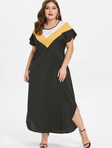 بالاضافة الى حجم الكاحل طول فستان لون كتلة - أسود 2x