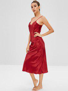 2019 Satin Cami Pajama Dress In RED XL  6f6d544ac