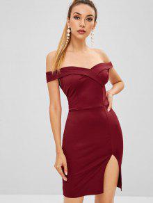 Foldover Bodycon البسيطة حزب اللباس - نبيذ احمر S
