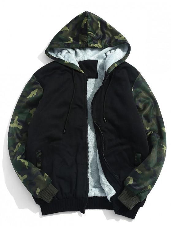 fancy Fluffy Inside Camo Patchwork Jacket - BLACK XL