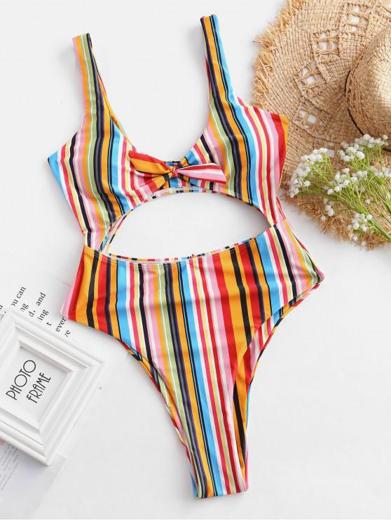 best ZAFUL Colorful Striped Cutout Tied Swimsuit - MULTI-A S
