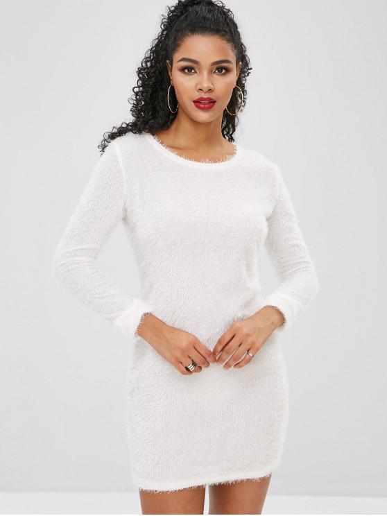 chic Fluffy Textured Mini Dress - CRYSTAL CREAM L