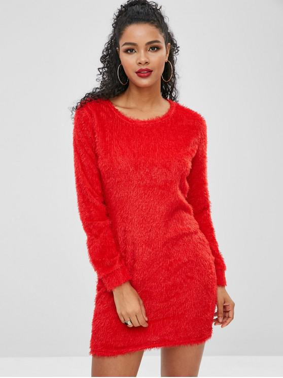 unique Fluffy Textured Mini Dress - LAVA RED XL