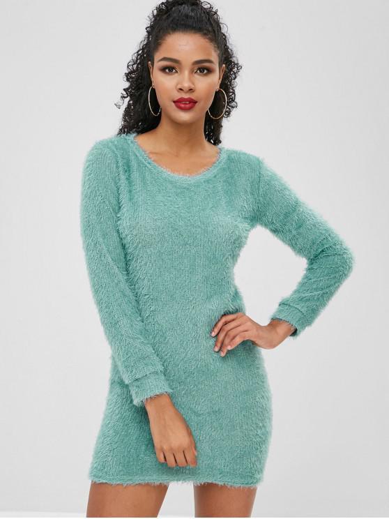 latest Fluffy Textured Mini Dress - BLUE HOSTA L