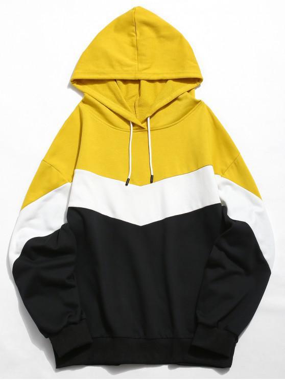ZAFUL تباين الألوان عارضة هوديي - الأصفر 2XL