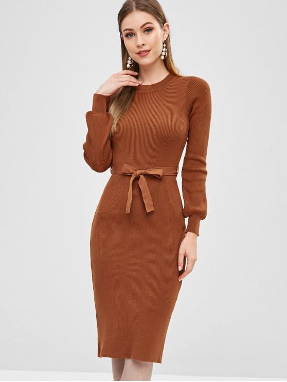 women Ribbed Belted Pencil Sweater Dress - LIGHT BROWN S